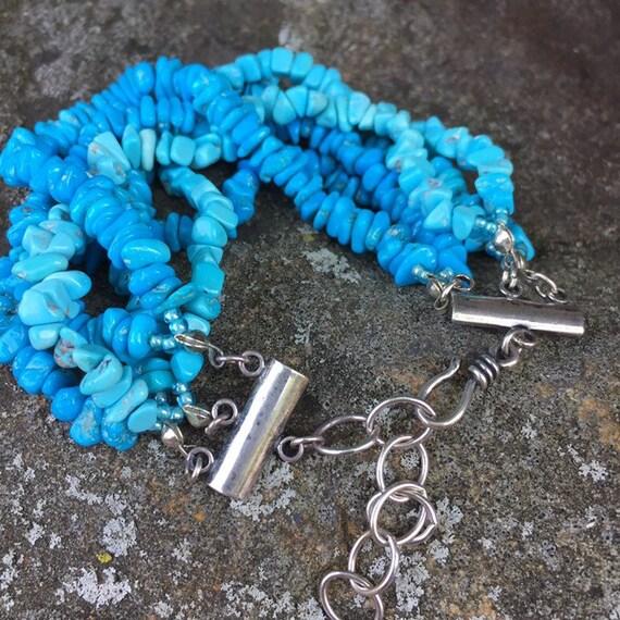 M. Salazar sterling & Turquoise beaded bracelet