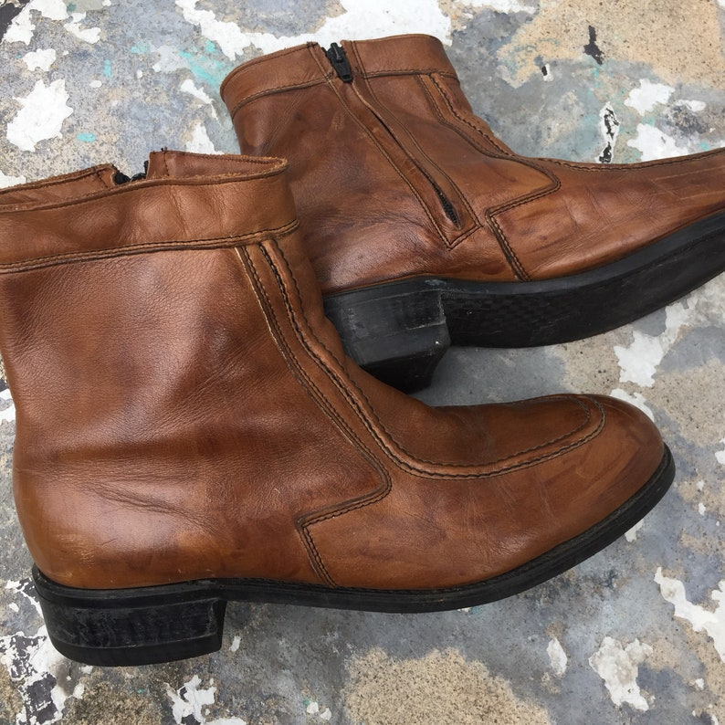 Vintage Light Tread Brown leather ankle boots mens 8.5