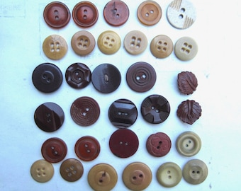 vintage buttons beige brown maroon assorted novelty button 1930s