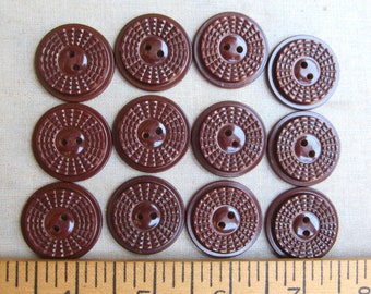 vintage buttons brown art deco 12 made in England wartime buttons