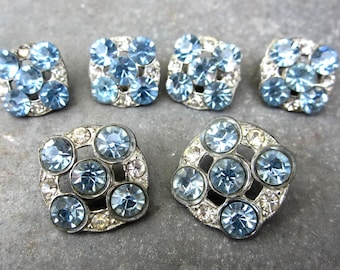 Vintage 1930s blue rhinestone buttons set of six