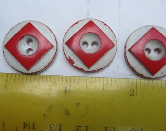 vintage buttons  three red and white art deco 1930s