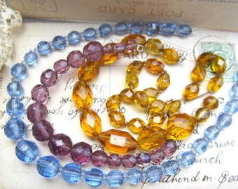 Antique German 1910s glass faceted beads three lots blue purple gold