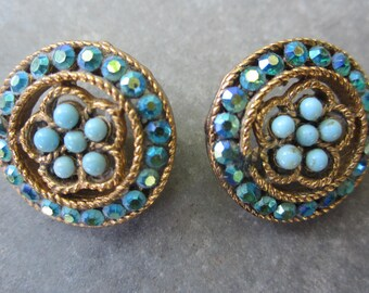 vintage rhinestone buttons pair