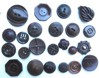 vintage buttons 1930s brown novelty button collection made in the USA recycle renew buy USA