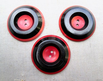 vintage buttons 1930s red black big coat buttons made in the USA recycle renew buy USA