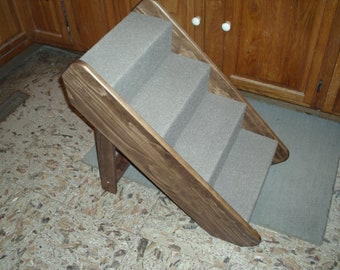 "Small folding pet stairs  for cats dogs up to 50 lbs. Hnad crafted in U.S.A. 21"" high."