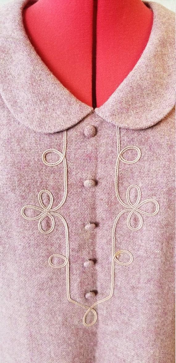 1960s lavender peter pan collar wool shift dress