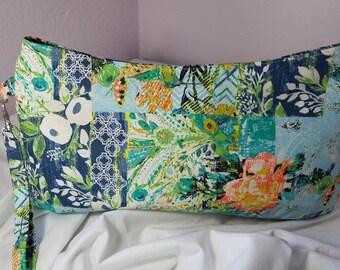 SALE - Large Coraline Zippered Wristlet, Something Blue, Bride, Bridesmaid Gift