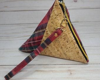 Red Tartan Plaid Triangular Wristlet with Gold Speckled Cork Babysitter Gift Teacher Gift