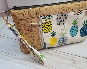 Pineapple Canvas Cork Wristlet with Detachable Strap. Babysitter Gift, Teacher, Holiday, Christmas, Shower Gift