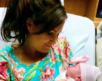 Custom Created Labor of Love Maternity - Hospital Gown - Flirty Ruffled Sleeve