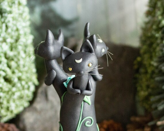 Black Cat Sculpture - Triple Black Cat Moon Votive Statue - Triskelion
