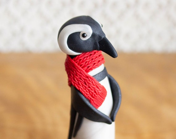 African Penguin Figurine - Penguin in a Red Scarf