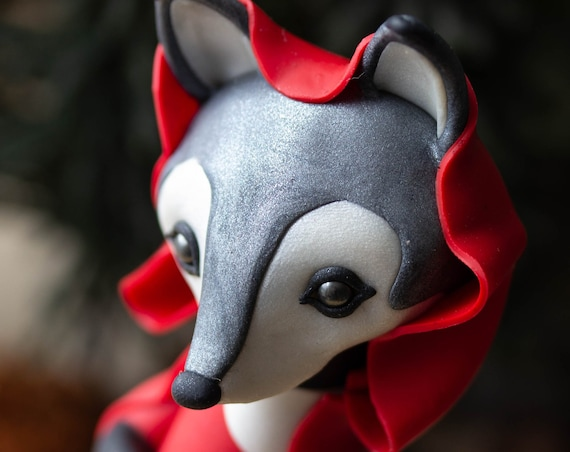 Little Red Riding Hood Wolf - Gray Wolf Figurine by Bonjour Poupette