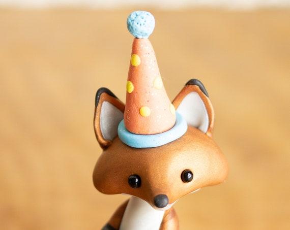 Happy Birthday Fox - Red Fox Figurine - Party Fox