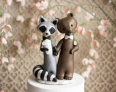 Raccoon and Bear Wedding - Gay Wedding Cake Topper