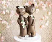 Brown Bear Wedding Cake Topper - Bride and Groom Bears
