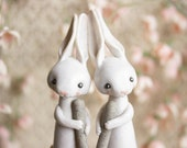 Lunar Hare Sculpture - Moon Rabbits Pounding Rice Together
