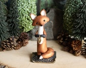 Red Fox Carrying a Heart - Red Fox Figurine
