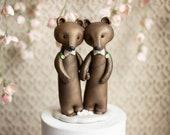 Bear Grooms - Brown Bear Wedding - Gay Wedding Cake Topper