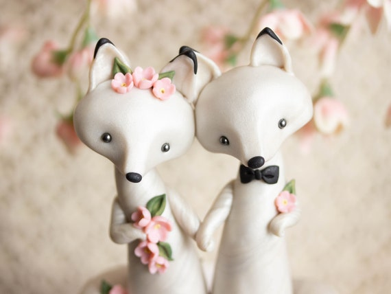 Arctic Fox Wedding - White Wedding Cake Topper - Winter Wedding