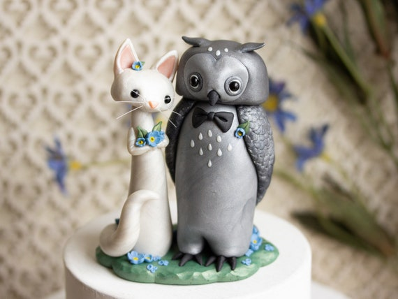 The Owl and the Pussycat - Cat and Owl Wedding Cake Topper