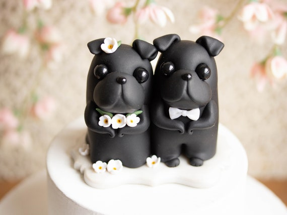 Black Pug Wedding Cake Topper