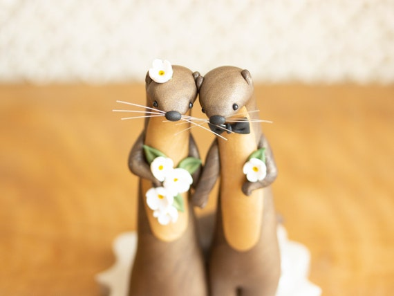 River Otter Wedding Cake Topper
