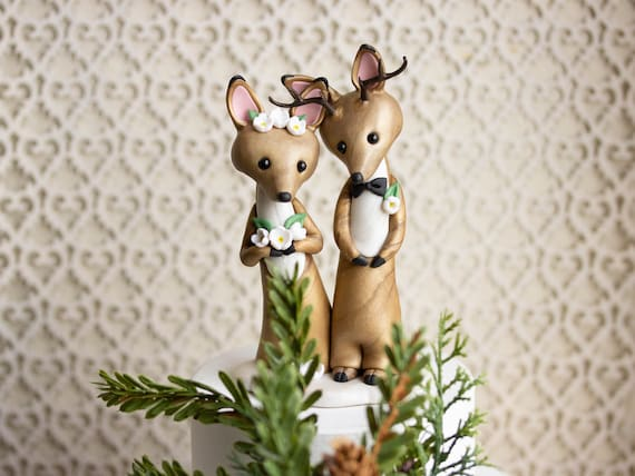 Deer Wedding Cake Topper - Stag and Doe