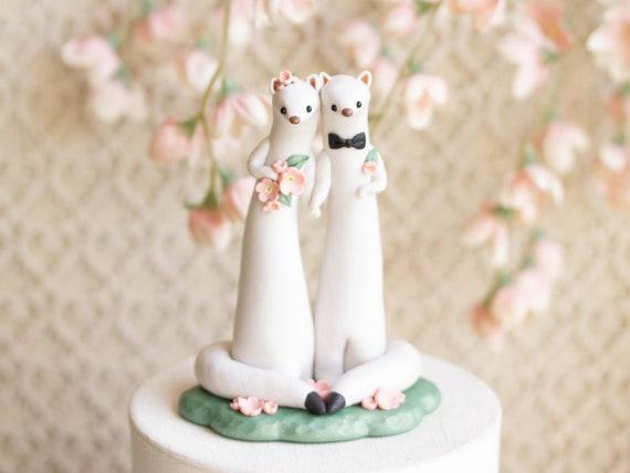 Weasel Wedding - Ermine Wedding Cake Topper