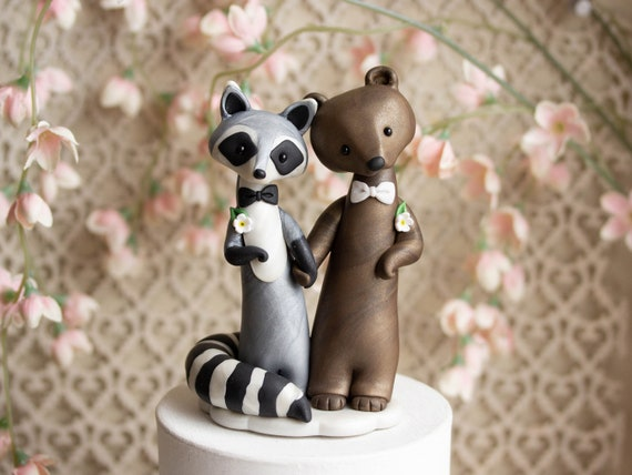 Raccoon and Bear Wedding - Gay Wedding Cake Topper