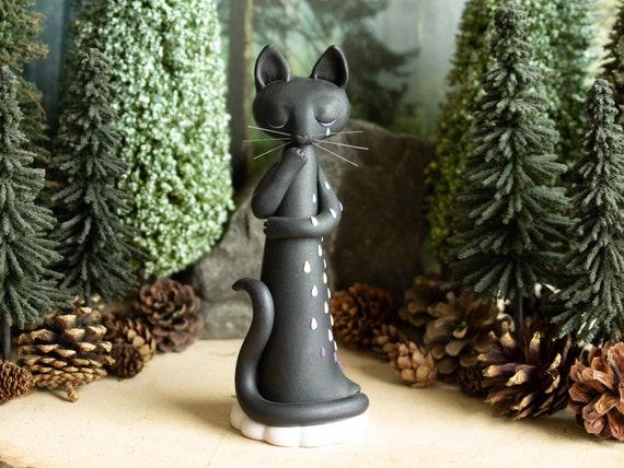 Weeping Black Cat Sculpture - Rainbow Tears - Black Cat Figurine