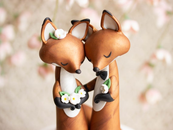 Red Fox Wedding Cake Topper - Wishing Foxes
