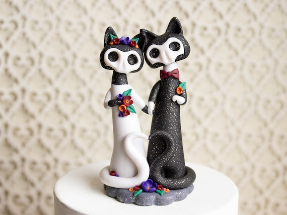 Calavera Cat Wedding Cake Topper - Gatitos de los Muertos - Day of the Dead Cats