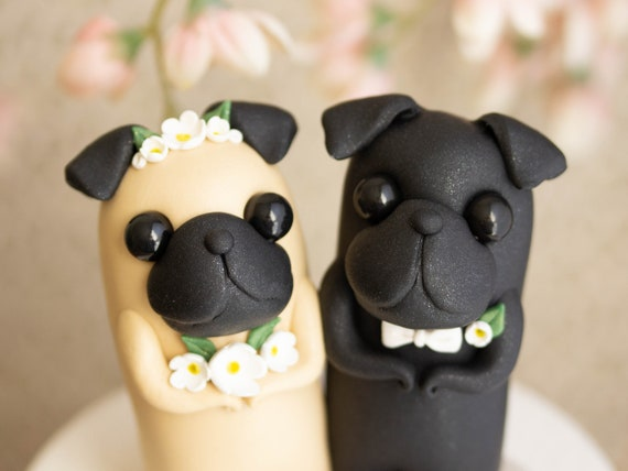 Pug Wedding Cake Topper by Bonjour Poupette