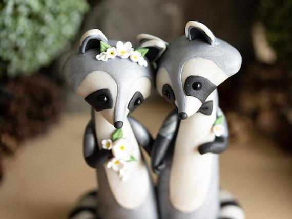 Raccoon Wedding Cake Topper - Handmade Raccoon Sculpture
