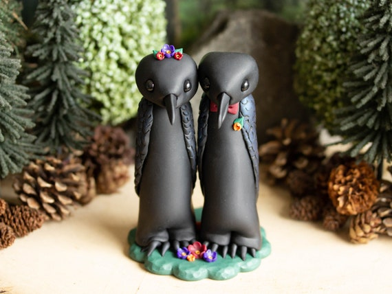 Raven Wedding Cake Topper