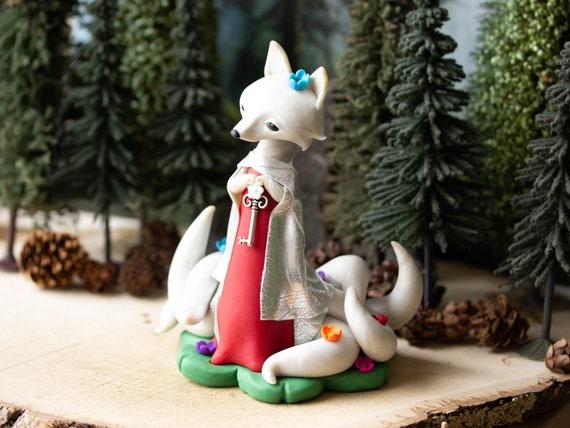 Kitsune Spirit Fox - White Nine-tailed Kitsune in a Red Dress  - Kitsune Fox of Summer