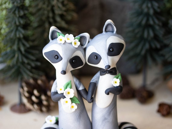 Raccoon Wedding Cake Topper - Handmade Raccoon Sculpture