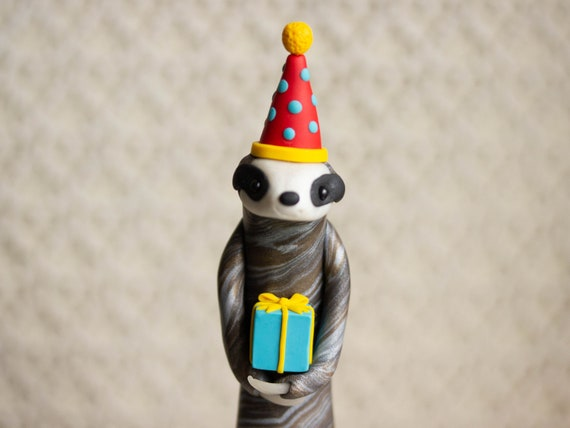 Sloth Birthday Cake Topper - Sloth Figurine - Sloth Sculpture