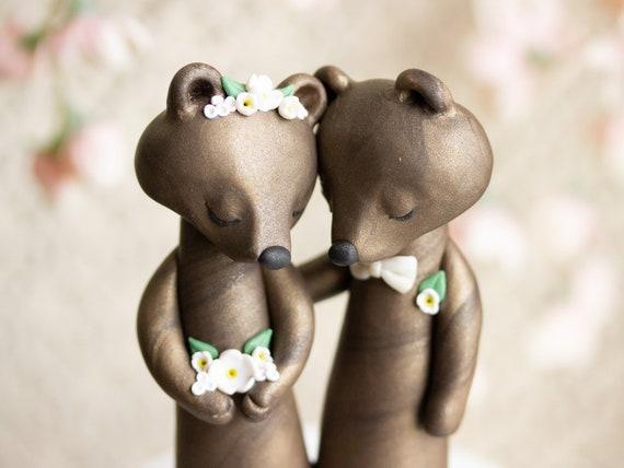 Wishing Bears - Brown Bear Wedding Cake Topper by Bonjour Poupette