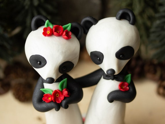 Panda Bear Wedding Cake Topper with Red Flowers