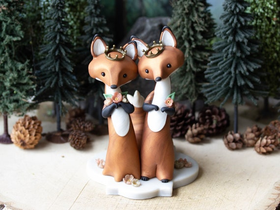 Royal Wedding - Red Fox Wedding Cake Topper with Rose Gold Flowers and Crowns