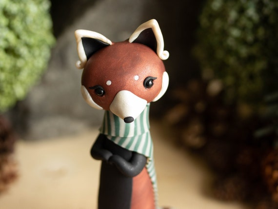 Red Panda Wearing a Striped Scarf - Red Panda Figurine