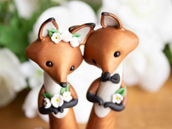 Red Fox Wedding Cake Topper - Handmade Red Fox Sculpture