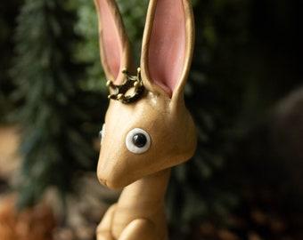 Royal Hare Figurine - Jackrabbit King - Rabbit Sculpture