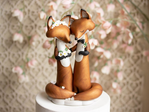 Wishing Foxes - Red Fox Wedding Cake Topper - Handmade Red Fox Sculpture