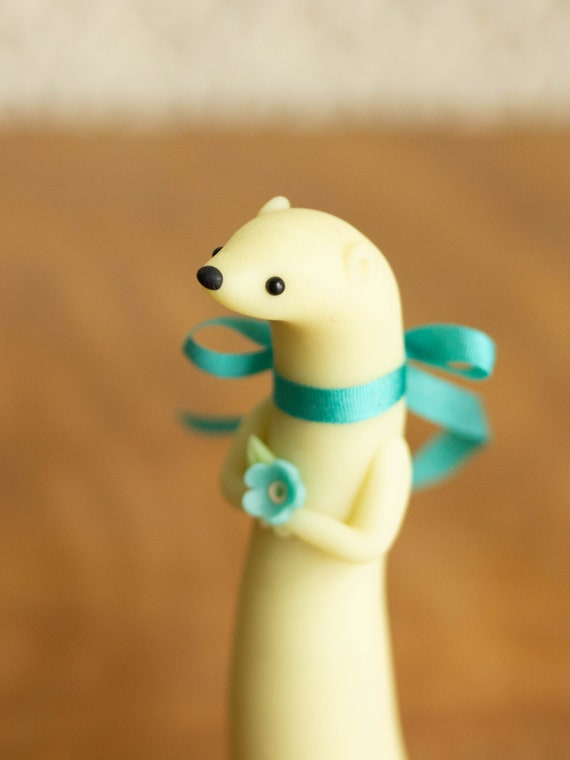 Weasel Lunette - Glow in the Dark Weasel Figurine - Moonglow Weasel by Bonjour Poupette