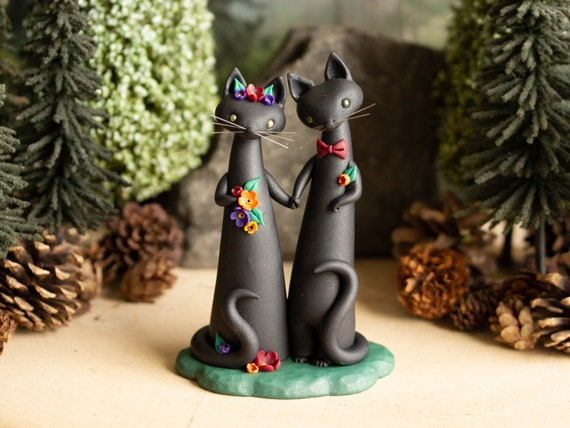 Halloween Wedding Cake Topper - Black Cat Wedding by Bonjour Poupette